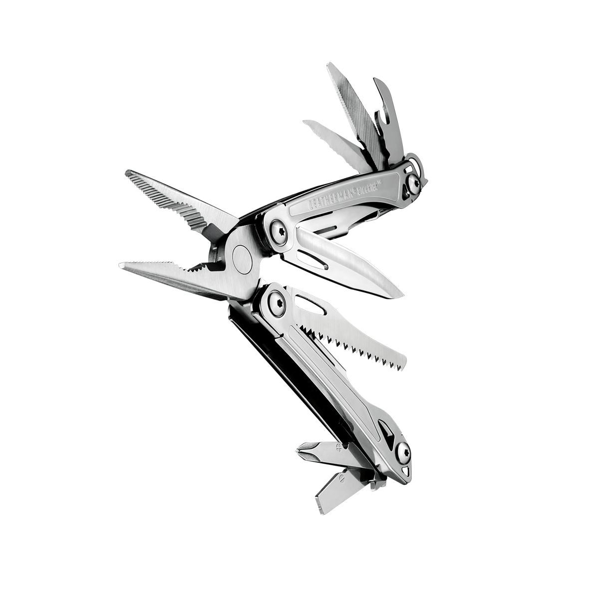 Leatherman sidekick multi-tool, stainless steel, pocket sized, 14 tools, angled open view