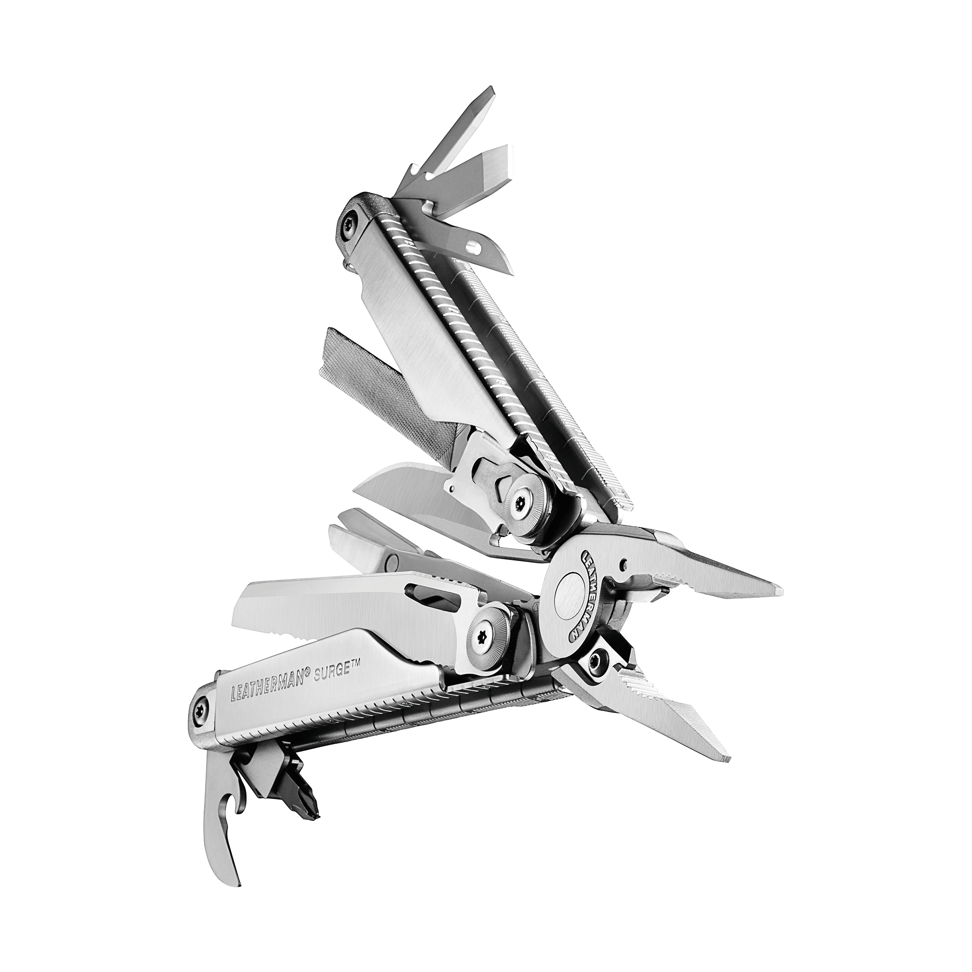 Leatherman Surge multi-tool, stainless steel, heavy duty, 21 tools, angled beauty open fanned view