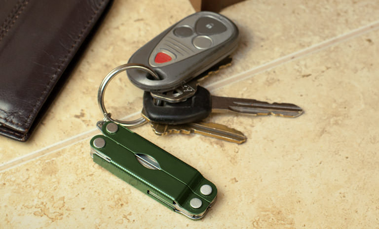Leatherman green micra on keychain, keychain multi-tool