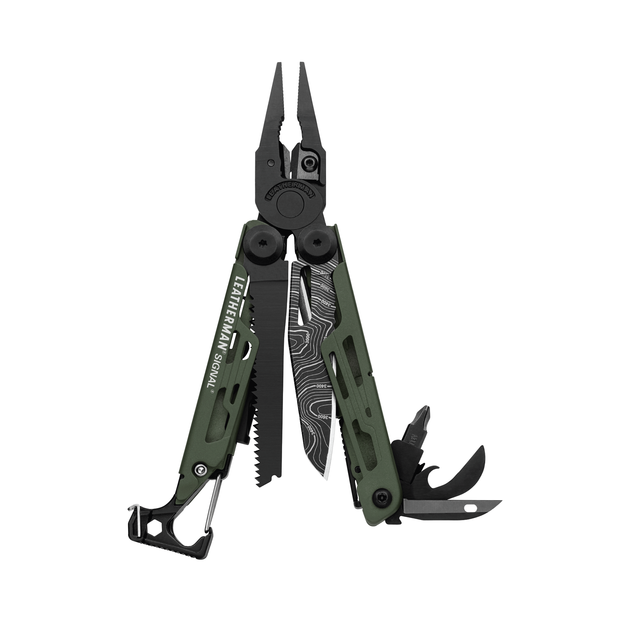Leatherman signal multi-tool, green, fanned view, 19 tools